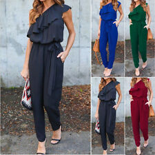 Summer Women One shoulder Chiffon Trousers Jumpsuit Romper Long Pants Slacks New