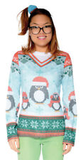 Ugly Christmas Sweater Penguin Winter Snowflake Ladies Adult Size Holiday Top