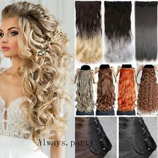 Long 100% Natural One Piece Clip In Hair Extensions Straight Wavy Full Head Lks