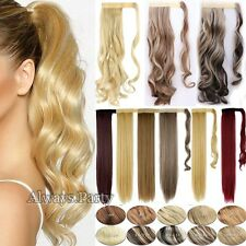 Long 18-26 Inch Clip In Hair Extensions Ponytail 100% Natural Brown Blonde UK Lc