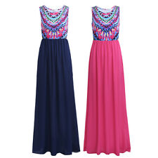 Women Bohemian Sleeveless Floral Beach Cocktail Casual Summer Long Maxi Dress