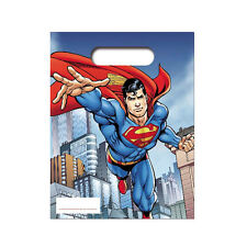 6 Superman Loot Bags Childrens Comic Birthday Gift Party Bag