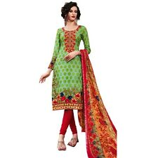 Readymade Cotton Printed Sober Embroidery Salwar Kameez Suit India-Belliza-44006