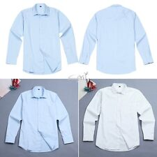 Men Long Sleeve Spread Collar Slim Fit Solid Color Casual Business Dress Shirts