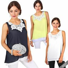 Womens Ladies Layered A Line Crochet Loose Tank Cami Vest Summer Top Blouse