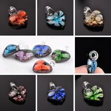 New 24x20mm Flower Art Lampwork Glass Loose Pendant Beads Necklace Jewelry Gift