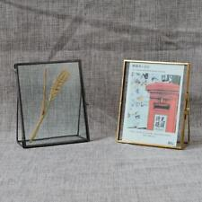 Antique Brass Glass Freestanding Picture Photo Frame Portrait Home Decor