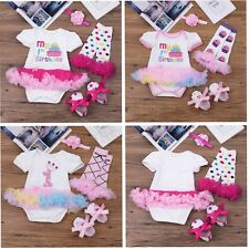 3/4 PCS Baby Girl 1st Birthday Romper Tutu Dress Outfit Set Bodysuit Heabdand