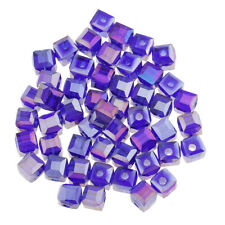 50pcs Square Crystal Beads Glaze Glass Quartz Loose Beads for Jewelry Making