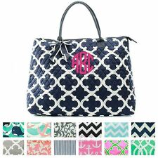 """Personalized Large Quilted Tote Bag 21"""" Laptop Travel"""