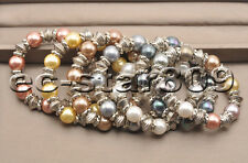 """D0349 8"""" Stretch 12mm Multicolor Round SOUTH SEA SHELL PEARL Bracelet"""