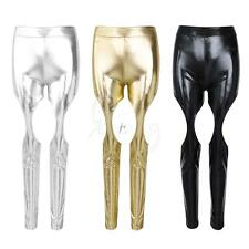Sexy Women's PU Leather WetLook Shiny Metallic Stretch Leggings Trousers Pants