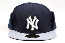 New York Yankees Navy Gray Clean Cut Flip Down New Era Winter 59Fifty Fitted Hat