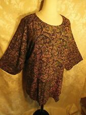 Plus Size We Be Bop Blouse ABSTRAK Waves Fall SWING TOP Crinkle Rayon Top NEW