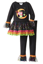Bonnie Jean Little Girl Black Owl Moon Halloween Fall Dress Leggings Outfit 5 6