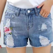 New Women Casual Floral Embroidered Shorts Holes Jeans Short Denim Pants