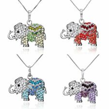 Women Silver Plated Crystal Rhinestone Elephant Pendant Necklace Charm Jewelry