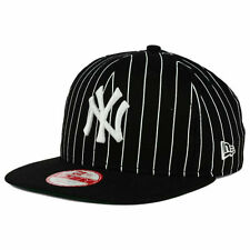 New York Yankees New Era MLB Pinstripe 9FIFTY Snapback Black FlatBill Cap Hat NY