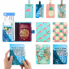 PU Leather Travel Passport Holder RFID Blocking Cards Case Cover Luggage Tags