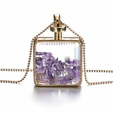 Women Charm Crystal Glass Locket Pendant Necklace Sweater Chain Jewelry Gift New