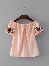 New Womens Orange/White Floral Embroidered Sleeve Off Shouler Blouse Tops Shirt