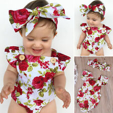 2pcs Flower Newborn Baby Girls Jumpsuit Romper Bodysuit+ Headband Outfits Set