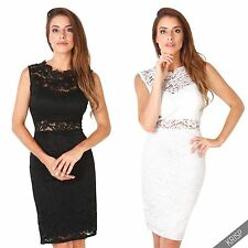 Womens Ladies Cocktail Evening Stretch Lace Sleeveless Wiggle Bodycon Midi Dress