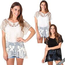 Womens Ladies Loose Flared Butterfly Crochet Beach Cover Summer Tunic Top Blouse