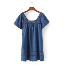 New Womens Sexy Floral Embroidered Short Sleeve Denim Jeans Blue Mini Dress