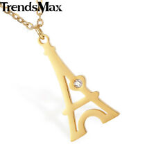 Ladies Womens Chain Pendant Necklace Gold Silver Stainless Steel Eiffel Tower