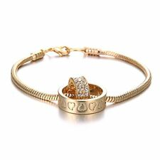 Fashion Silver/Gold Plated Crystal Rhinestone Lover Bracelet Chain Jewelry Gift