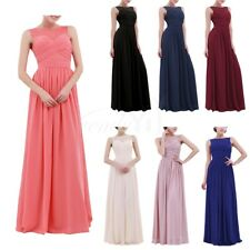 Womens Chiffon Lace Patchwork Bridesmaid Dress Maxi Long Evening Party Prom Gown