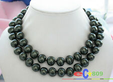 """p2923 34"""" 15MM TAHITIAN BLACK EGG SOUTH SEA SHELL PEARL NECKLACE"""