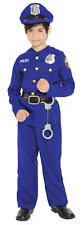 Police Officer Boys Costume Cop Uniform Career Policeman Theme Party Halloween