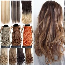 100% One Piece Real Thick Clip In Hair Extensions Full Head Fake Hair Extension