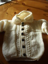 BRAND NEW HAND KNITTED BABY BOYS CREAM ARAN CARDIGAN WITH HOOD