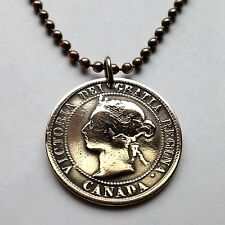 Canada 1 cent coin pendant Canadian necklace Quebec Queen Victoria n001053