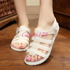 Summer Womens Beach Casual Flats Buckles Transparency Crystal Jelly Sandal Shoes