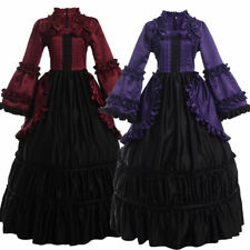 Vintage Victorian Puff Sleeve Ball Gown Gothic Reenactment Party Cosutme Dress