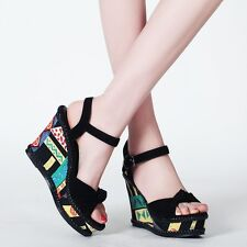 Womens High Wedge Heel Platform Open Toe Leather Shoes Sandals Multicolor Size