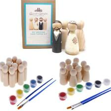 10pcs Blank Wooden Peg Dolls Painting DIY with Paintbrush Craft Wedding Favors