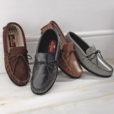 Mens Hand Stitched Super Moccasin Slippers Leather or Suede Cushioned Interior