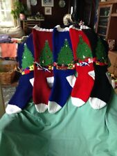 Hand Knit Christmas Tree Christmas Stockings in 3 Colors-NEW-FINAL LISTING