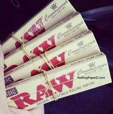 FOUR Packs of RAW King Size Slim CONNOISSEUR Cigarette Rolling Papers with TIPS