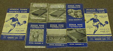 Ipswich Town Home Programmes 1957/58 to 1966/67. Good Choice.