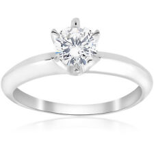 Solitaire Engagement Ring Band Vintage Prong Set Diamond 0.55 Ct 14Kt White Gold