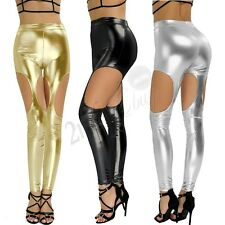 Womens Leather Wetlook Skinny Stretchy Trousers Cutout Leggings Pants Casual