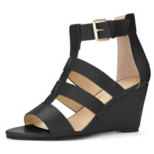 Ladies Ankle Strap Open Toe Cutout Wedge Sandals