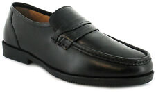 Mens/Gents Black Wide Fitting Leather Slip On Shoes UK SIZES