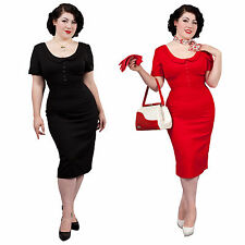 Glamour Bunny Pan Pinup Vintage Hourglass 1950s Fitted Pencil Wiggle Dress UK